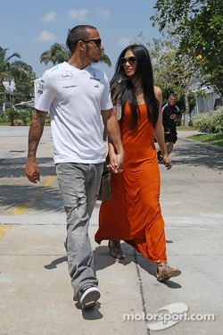 Lewis Hamilton, Mercedes AMG F1 with girlfriend Nicole Scherzinger, Singer