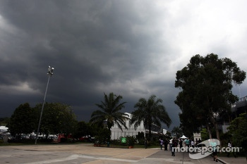 Dark rain clouds over the circuit