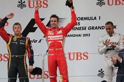 Kimi Raikkonen, Lotus F1 Team, Fernando Alonso, Scuderia Ferrari and Lewis Hamilton, Mercedes Grand Prix