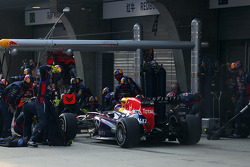 Sebastian Vettel, Red Bull Racing pit stop 13042013 Formula 1 World Championship, Rd 3, Chinese Grand Prix, Shanghai, China, Qualifying Day - wwwxpbimagescom, EMail: requests@xpbimagescom - copy of publication required for printed pictures Every used pict