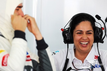 Monisha Kaltenborn, Sauber Team Principal and Esteban Gutierrez, Sauber