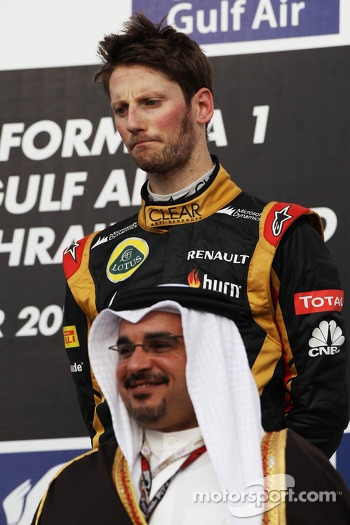 Romain Grosjean, Lotus F1 Team on the podium