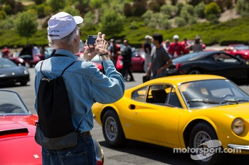 Fans checking out all the Ferraris