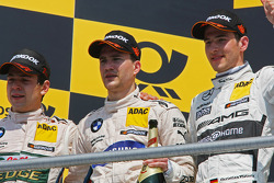 Podium, Winner Augusto Farfus, BMW Team RBM BMW M3 DTM, Dirk Werner, BMW Team Schnitzer BMW M3 DTM and Christian Vietoris, Mercedes AMG DTM-Team HWA DTM Mercedes AMG C-Coupé