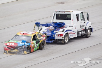 Kyle Busch, Joe Gibbs Racing Toyota after a huge crash