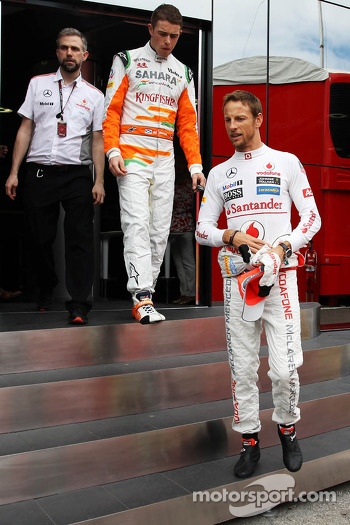 Jenson Button, McLaren and Paul di Resta, Sahara Force India F1