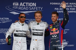 Polesitter Nico Rosberg, Mercedes AMG F1, second place Lewis Hamilton, Mercedes AMG F1, third place Sebastian Vettel, Red Bull Racing