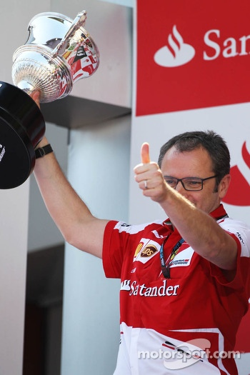 Stefano Domenicali, Ferrari General Director celebrates on the podium