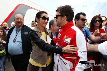 Michelle Yeoh, with Fernando Alonso, Ferrari