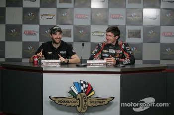 J.R. Hildebrand, Panther Racing Chevrolet and James Hinchcliffe, Andretti Autosport Chevrolet