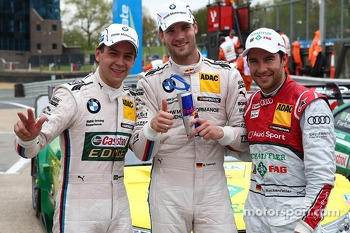 Pole position for Martin Tomczyk, BMW Team RMG, BMW M3 DTM, 2nd for Mike Rockenfeller, Audi Sport Team Phoenix, Audi RS 5 DTM and 3rd for Augusto Farfus, BMW Team RBM, BMW M3 DTM