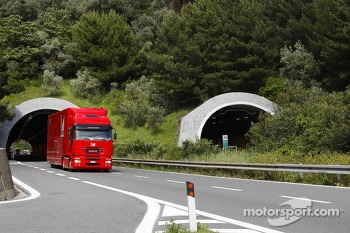 Ferrari truck heads to the paddock