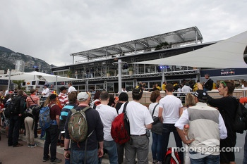 Fans outside the Red Bull Energy Station