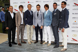 (L to R): Valtteri Bottas, Williams; Charles Pic, Caterham; Max Chilton, Marussia F1 Team; Jules Bianchi, Marussia F1 Team; Esteban Gutierrez, Sauber; Giedo van der Garde, Caterham F1 Team; Adrian Sutil, Sahara Force India F1, at the Amber Lounge Fashion