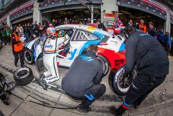 Pit stop for #77 Raceunion Teichmann Racing Porsche 911 GT3 Cup (SP7): Jos Menten, Stefan Landmann, Stef Vancampenhoud