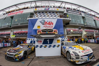 Winning cars podium setup in the parc fermé