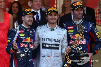1st place Nico Rosberg, Mercedes AMG F1 W04, 2nd place Sebastian Vettel, Red Bull Racing and 3rd Mark Webber, Red Bull Racing