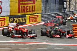 Sergio Perez, McLaren MP4-28 and Fernando Alonso, Ferrari F138 battle for position