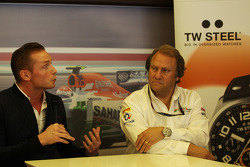 Jordy Cobelens, CEO TW Steel with Robert Fernley, Sahara Force India F1 Team Deputy Team Principal at a TW Steel media call.