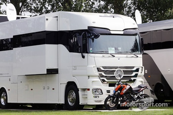The motorhome of Sebastian Vettel, Red Bull Racing at the BRDC Farm.