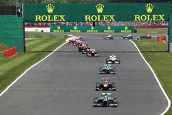 Lewis Hamilton Mercedes AMG F1 W04 leads at the start of the race