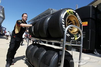 Used Pirelli tyres returned by the Lotus F1 Team