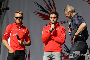 Max Chilton Marussia F1 Team, Jules Bianchi Marussia F1 Team and Tony Jardine at the post race concert