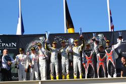 Podium: winners Bas Leinders, Yelmer Buurman, Maxime Martin, BMW Z4, second place Stef Dusseldorp, Alexander Sims, Alvaro Parente, McLaren MP4-12C, third place Lucas Luhr, Steven Kane, Peter Dumbreck, Nissan GT-R Nismo GT3