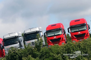 Ferrari and McLaren trucks
