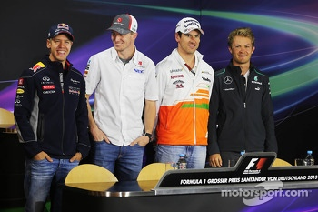 German drivers in the FIA Press Conference: Sebastian Vettel, Red Bull Racing; Nico Hulkenberg, Sauber; Adrian Sutil, Sahara Force India F1; Nico Rosberg, Mercedes AMG F3