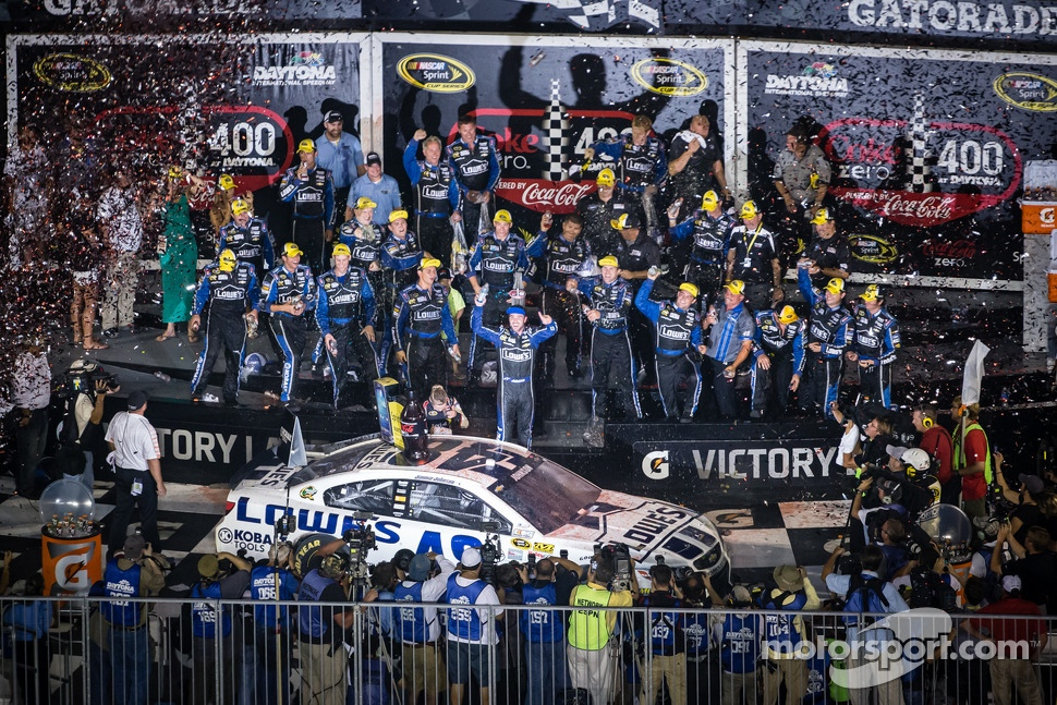 Victory lane race winner Jimmie Johnson, Hendrick Motorsports Chevrolet celebrates