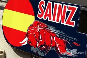 Pit board for Carlos Sainz Jr., Scuderia Toro Rosso Test Driver