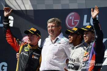 The podium, Kimi Raikkonen, Lotus F1 Team, second; Ross Brawn, Mercedes AMG F1 Team Principal; Lewis Hamilton, Mercedes AMG F1, race winner; Sebastian Vettel, Red Bull Racing, third