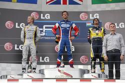 Race winner Jolyon Palmer, second place Marcus Ericsson, third place Felipe Nasr