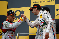 Podium, Mattias Ekström, Audi Sport Team Abt Sportsline, Audi A5 DTM and Augusto Farfus, BMW Team RBM BMW M3 DTM