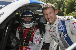 Mattias Ekström and Sébastien Ogier in the Volkswagen Polo-R WRC