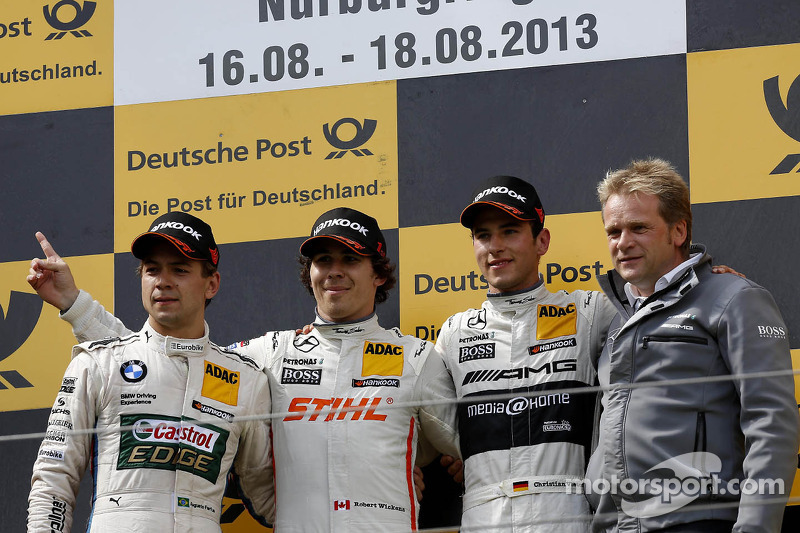 Podium, 2nd Augusto Farfus, BMW Team RBM BMW M3 DTM, 1st Robert Wickens, Mercedes AMG DTM-Team HWA DTM Mercedes AMG C-Coupe, 3rd Christian Vietoris, Mercedes AMG DTM-Team HWA DTM Mercedes AMG C-Coupe