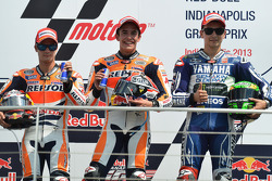 Race winner Marc Marquez, Repsol Honda Team, second place Dani Pedrosa, Repsol Honda Team, third place Jorge Lorenzo, Yamaha Factory Racing