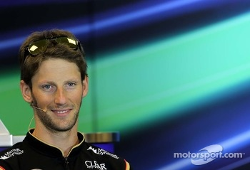 Romain Grosjean, Lotus F1 Team at the press conference.