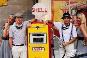 Fernando Alonso, Ferrari and Felipe Massa, Ferrari at the Back In Time with Shell event
