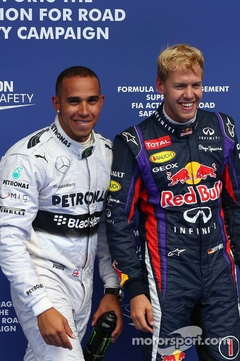 Pole for Lewis Hamilton, Mercedes AMG F1, 2nd for Sebastian Vettel, Red Bull Racing