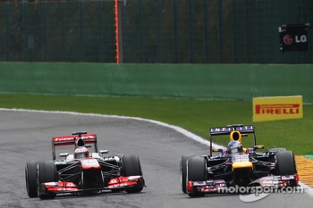 Jenson Button, McLaren and Sebastian Vettel, Red Bull Racing