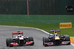 Jenson Button, McLaren and Sebastian Vettel, Red Bull Racing