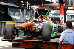 The Sahara Force India F1 VJM06 of Paul di Resta, Sahara Force India F1 is recovered back to the pits on the back of a truck after he crashed in the third practice session