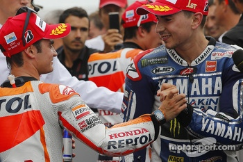 Third place Dani Pedrosa, race winner Jorge Lorenzo