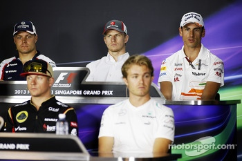 The FIA Press Conference, Williams; Nico Hulkenberg, Sauber; Adrian Sutil, Sahara Force India F1; Kimi Raikkonen, Lotus F1 Team; Nico Rosberg, Mercedes AMG F1.  19.09.2013. Formula 1 World Championship, Rd 13, Singapore Grand Prix, Singapore, Singapore, P
