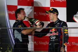 Christian Horner, Red Bull Racing Team Principal and Sebastian Vettel, Red Bull Racing