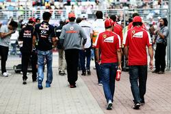 (L to R): Felipe Massa, Ferrari with team mate Fernando Alonso, Ferrari on the drivers parade