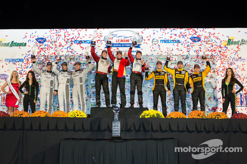 GTC podium: class winners Nelson Canache, Spencer Pumpelly, Madison Snow, second place Patrick Dempsey, Andy Lally, Joe Foster, third place Mike Hedlund, Jan Heylen, Jon Fogarty