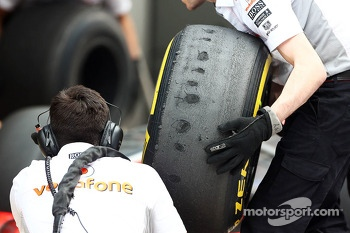Worn Pirelli tyres used by McLaren